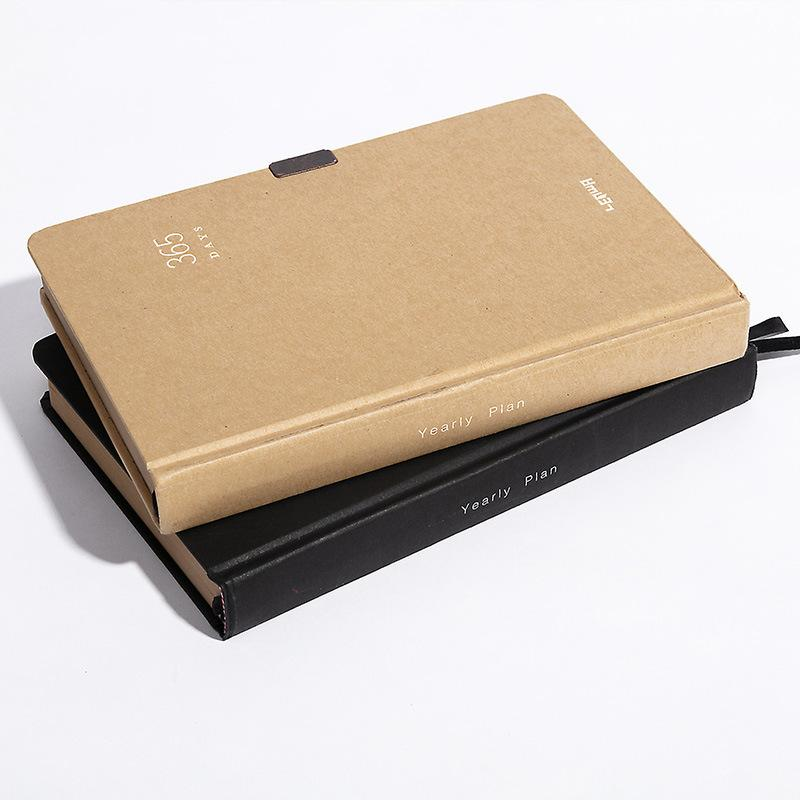 """Business 365"" Hard Cover Big Notebook Diary Vintage Classic Journal Kraft Papers Notepad Lock Memo T200727"