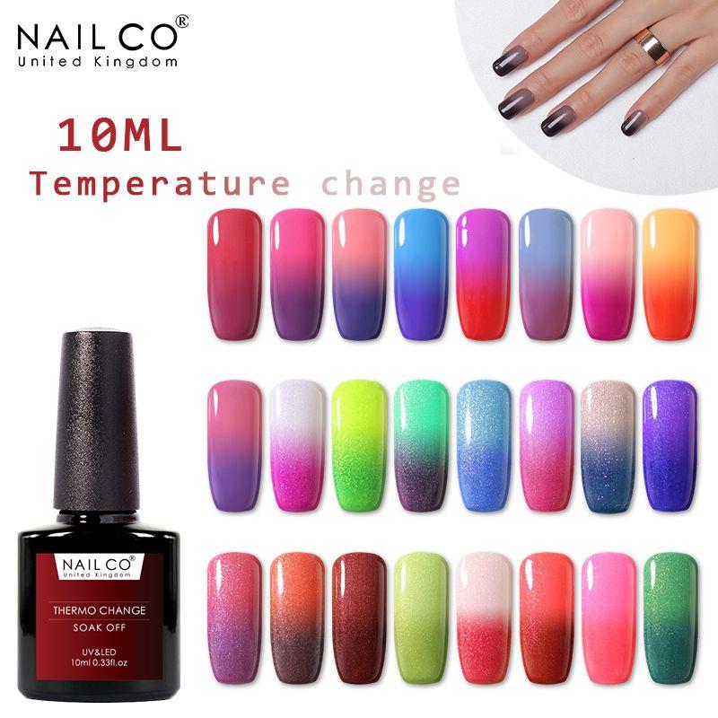 NAILCO Sıcaklık Değişimi Renk Jel Polonya 10ML UV Jel Vernik Sanat Kapalı LED Laklar Resin 2020 YENİ Soak vernik