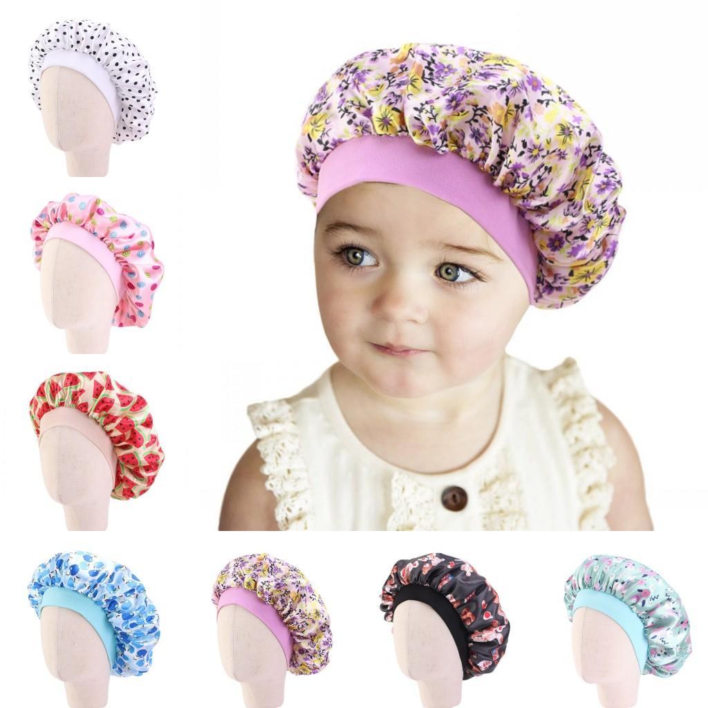 Carino Cappelli letto Bambini raso Bonnet New Soft seta Wide Band Notte Cappelli per capelli naturali Teens Bebè Bambino bambino all'ingrosso