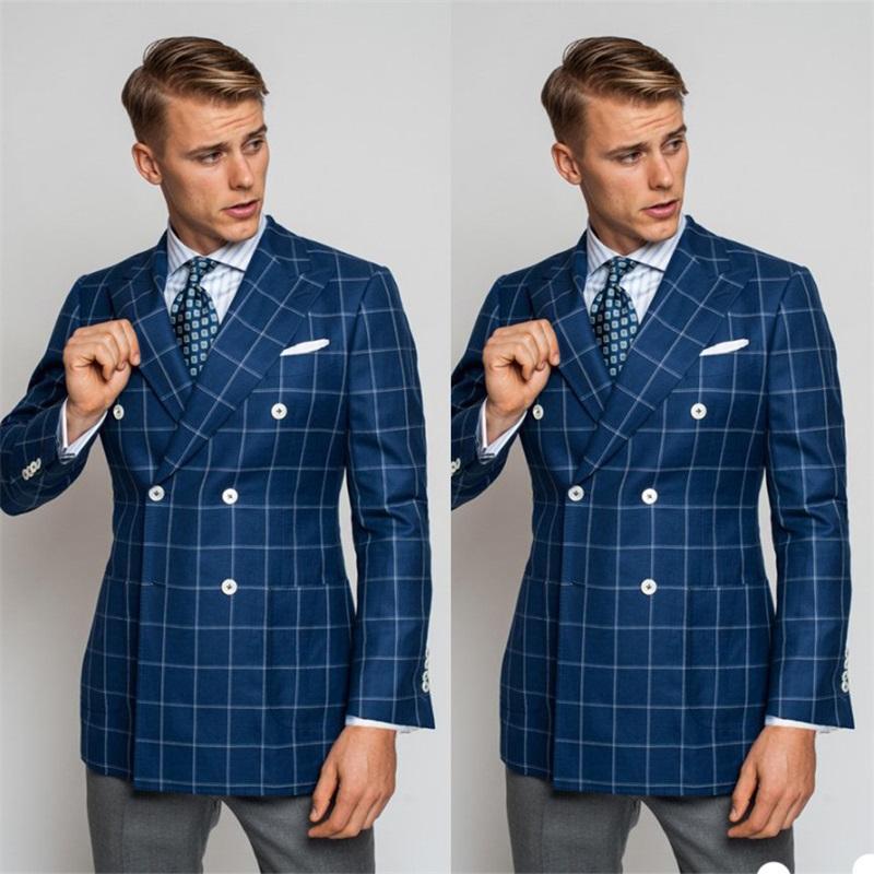 Nuovi Handsome 1 pezzi Blue Coat Handsome uomini vestito su ordine Plaid doppio petto Miscela del cotone Slim Fit partito formale di affari degli uomini