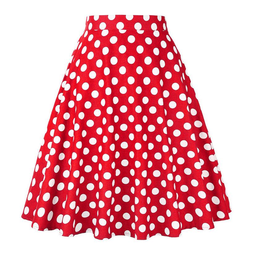 2020 Cotone Blu Nero Rosso Pois gonne a vita alta rosso con il bianco Dots battente Vintage Gonne Plus Size