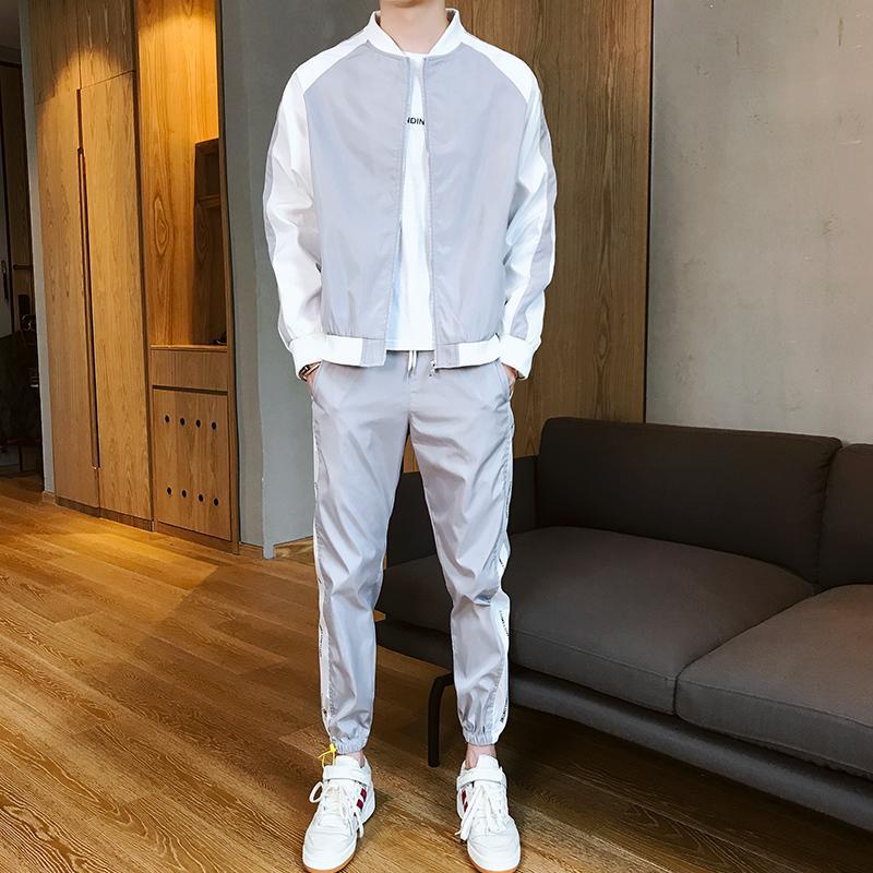 2019 neue Winter-Sportswear Set Jacket Men Outfit Kleidung Mode Set-beiläufiger Sport-Trainingsanzug Sportwear Hommes Mantel JJ60NT T200709