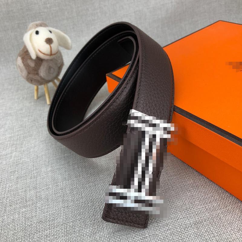 Los hombres elegantes 2020 Diseñador Mejor-venta de la correa H de moda versátil correa de cuero de lujo de cuero oscuro de la correa con la caja 2080106B
