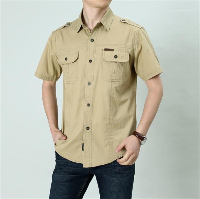 Camicia Casual Solid Camicia a maniche corte stile militare casuale del carico a Man Plus Dimensione Uomo T-shirt estiva Nuovo