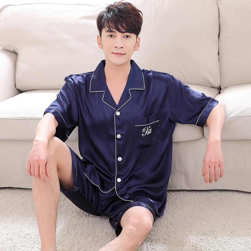 Été coréenne vêtements quelques soie imitation style maison pyjama court costume hommes manches et soie col V cardigan lâche des femmes à la maison