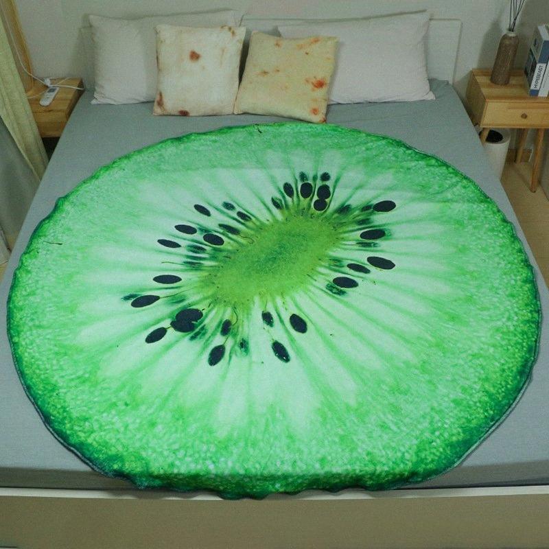 Drucken 3D Lustige Fruit Print Decke Erwachsene Kinder Watch TV Nap Wirf Bequeme Flanellgewebe Runde Decken für Betten Bedspread rLCU #