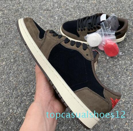 2019 New Travis Scotts x Air High OG S High Low Basketball Shoes For Men Khaki Brown Suede Sports Sneakers With t12