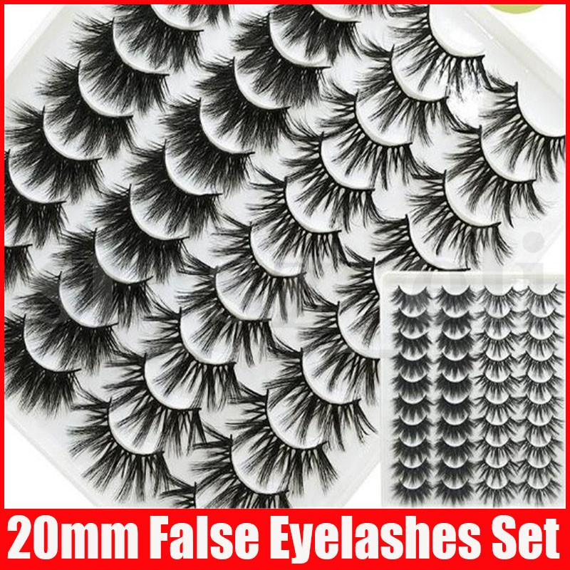 20mm 20 Pairs Natural 5D False Eyelashes Fake Lashes Long Makeup 3D Mink Eyelashes Eyelash Extension Mink For Beauty