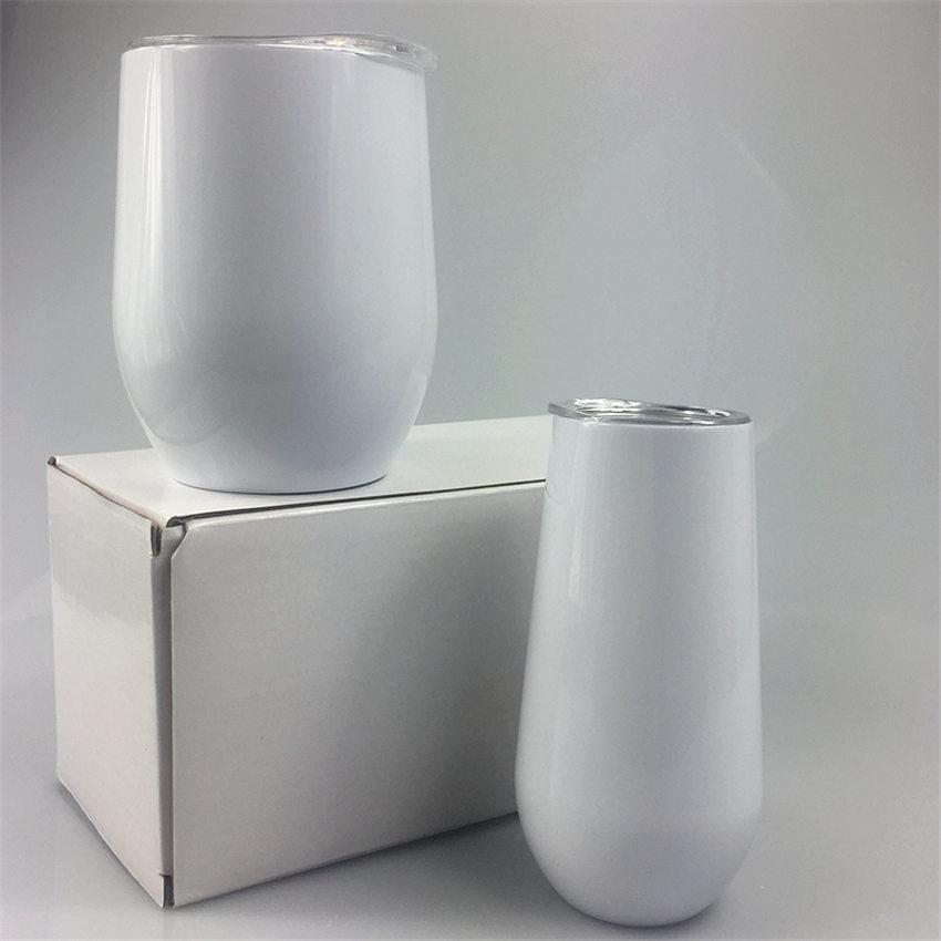 Sublimation 12 Unzen Weinglas Edelstahl tumbler doppelwandige vakuumisolierte Wasserflasche Kaffeetasse mit Dichtungsdeckel A02
