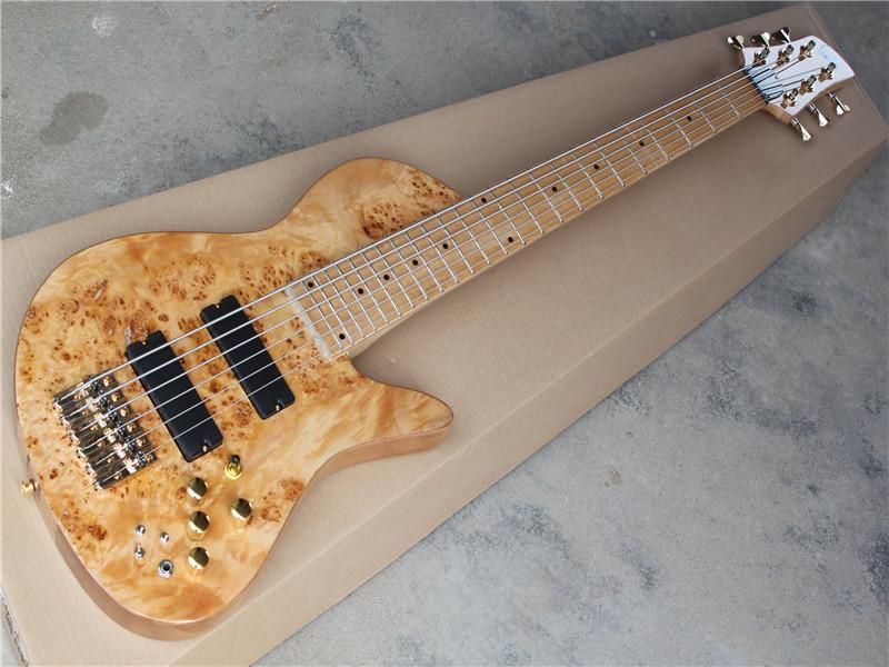 Fabrika özel Altın donanımla 6 dizeleri Akçaağaç Fingerboard Orjinal Boyun-sokmak-vücuda Elektrik Bas Gitar, Ağaç desen, teklif özelleştir