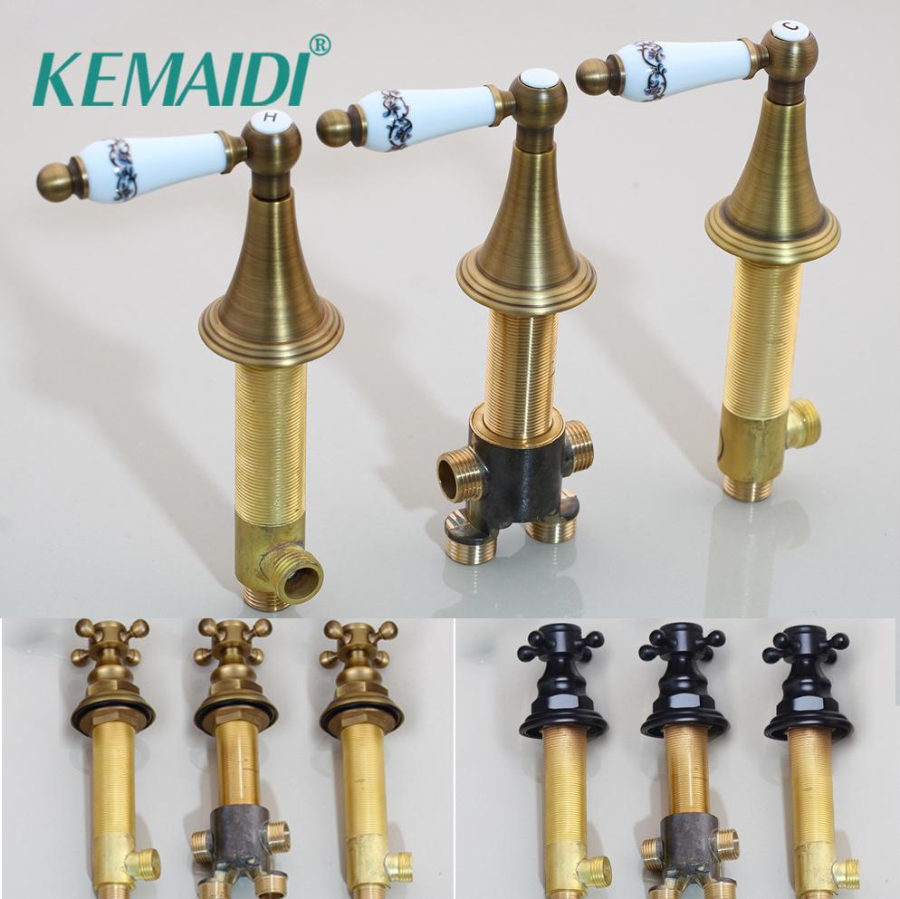 KEMAIDI boa qualidade Hot e válvula de controle de água fria 3 sets para torneira de casa de banho Mixer torneira válvula Accessaries Handle Banheiro