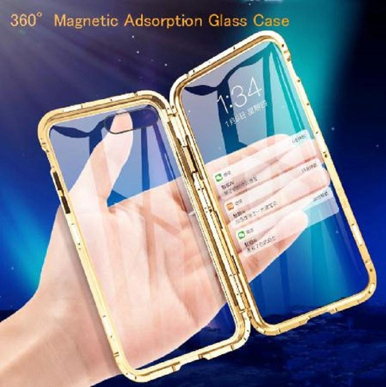Front +Back 360 Magnetic Adsorption Metal Glass Case For IPhone 7