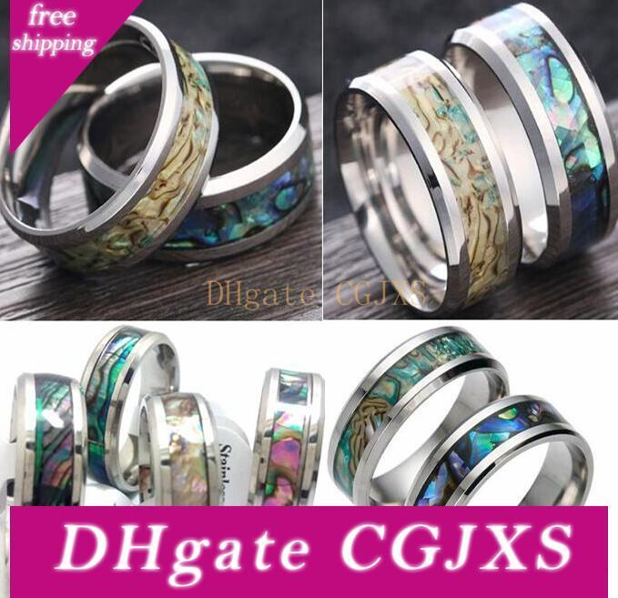 Men Women Stainless steel Color Shell Rings Tungsten Carbide Finger Ring Wedding Engagement Ring Wholesale 2017 New HOT Jewelry Lot