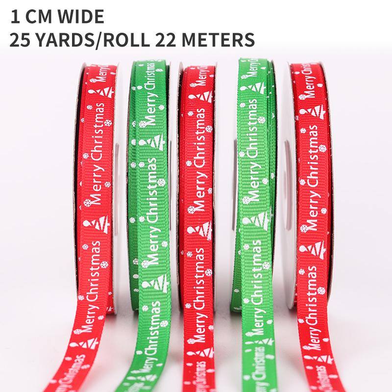 Decoración de la cinta de la cinta al por mayor de Feliz Navidad y logotipo de Navidad de la cinta de 22 metros de un rollo de cinta de 1 cm de ancho decorativa