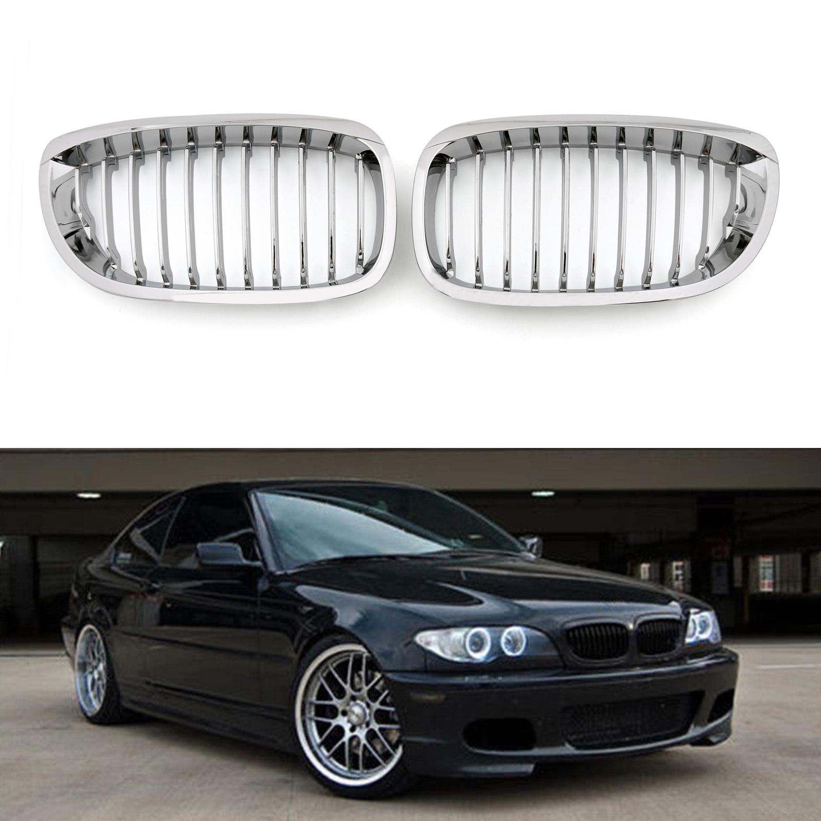 Areyourshop Front Fence Grill Grille ABS Chrome Mesh Fit For BMW E46 2D 2002-2007 3 Series Car Auto Accessories Parts