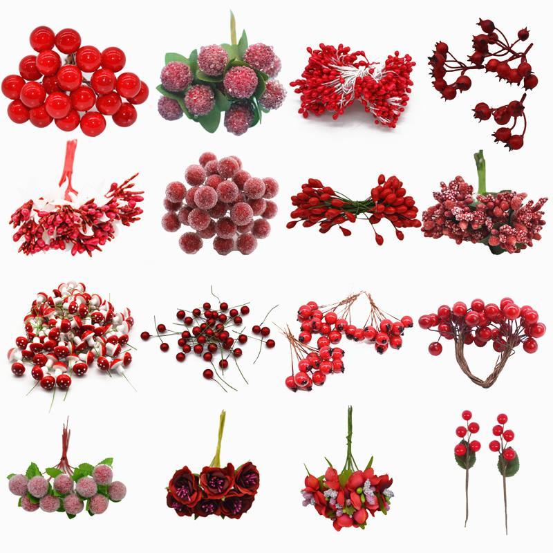 Красный цвет Mini Stamen Cherry Stamen Ягоды Bundle на Рождество День рождения торт Декор DIY Дети подарков Искусственные цветы аксессуары
