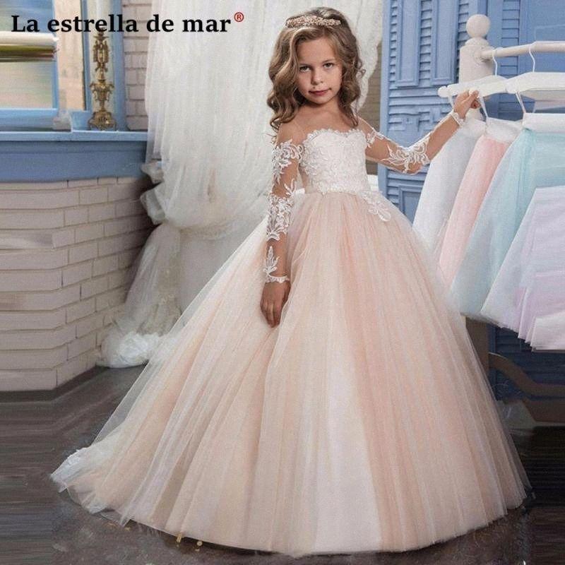 aplike uzun çocuk kız uzun beden 6G98 için # Balo gelinlik kollu vestido daminha de casamento menina yeni O boyun tül