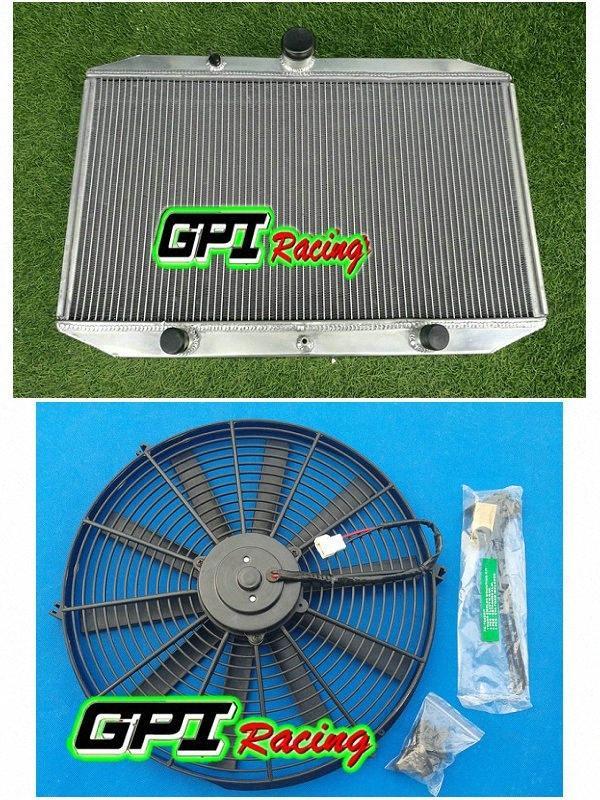 62MM 3ROWS radiateur en aluminium + FAN Fit XKF 5.3L E-TYPE Série 3 V12 1971-1974 72 72 9uRA #