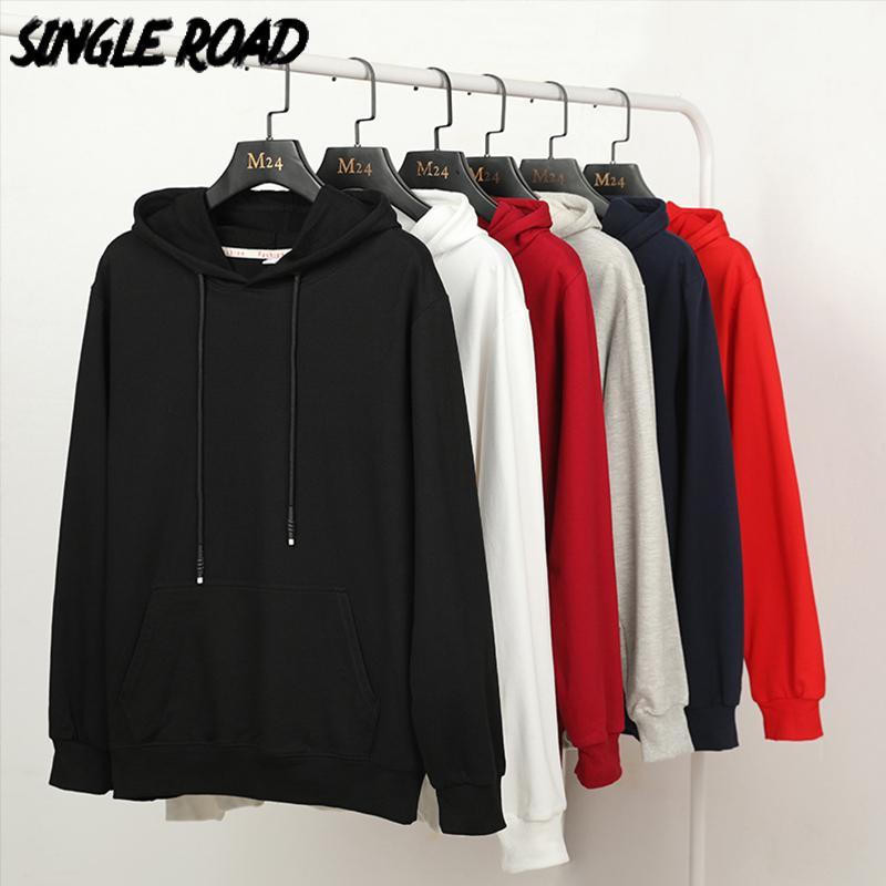SingleRoad Erkekler Hoodies Erkekler% 97 Pamuk Ovası Katı Casual Tişörtü Japon Streetwear Siyah Hoodie Erkekler Kazak Erkek T200716