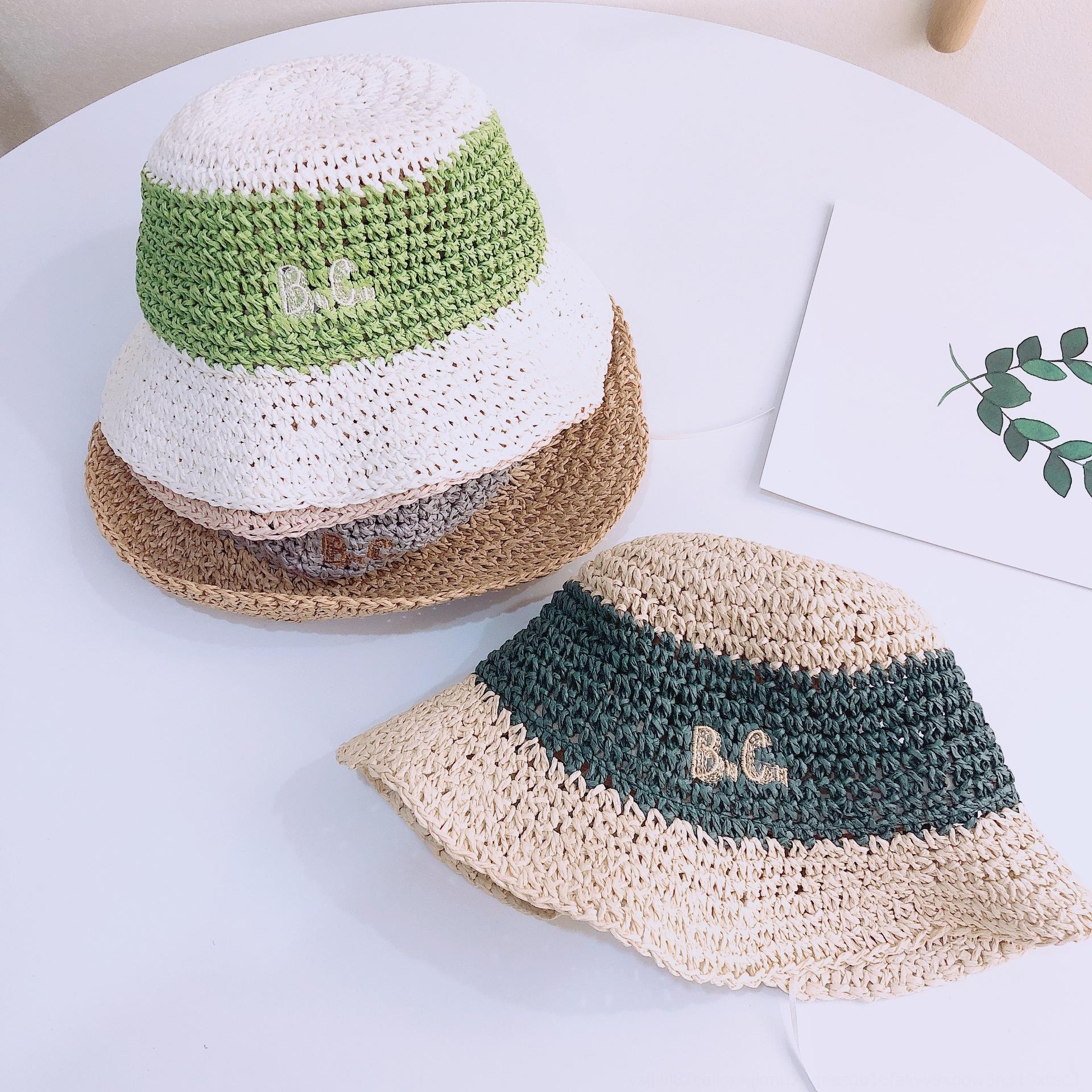 ins coréen des enfants tout de correspondance des couleurs lettre assortie brodé broderie filles chapeau de paille à la main Voyage pare-soleil chapeau de paille de plage