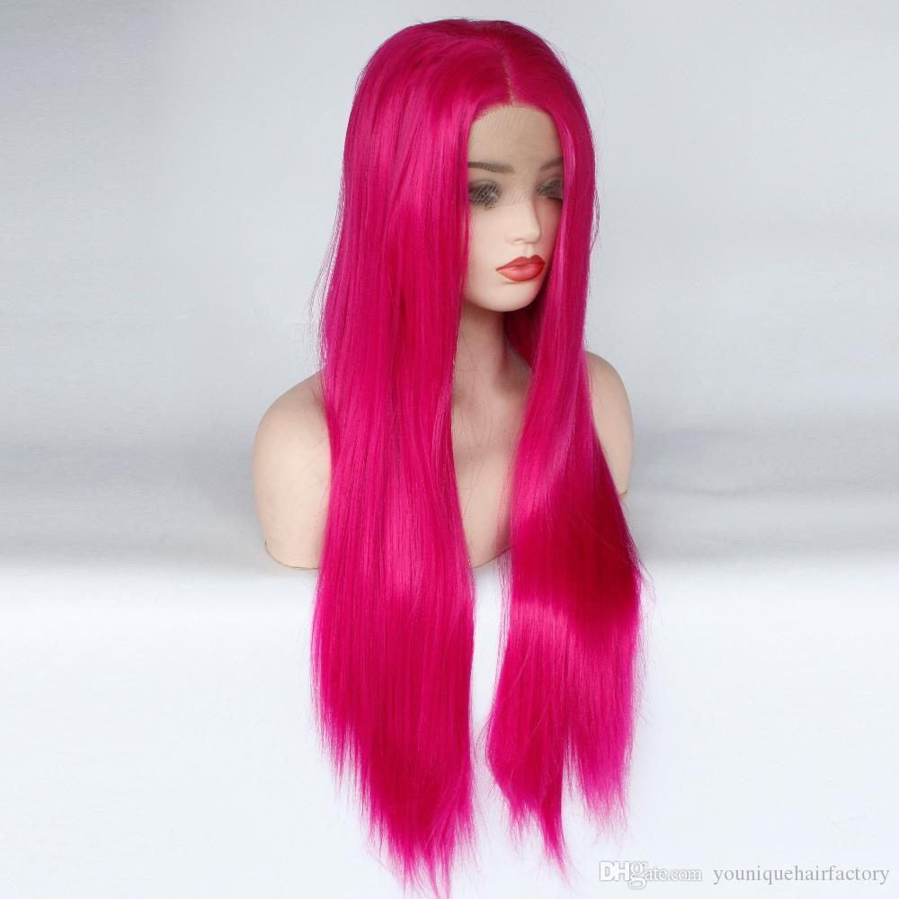 Rose Parrucca rossa di Glueless sintetica merletto della parte anteriore parrucca per le donne di sguardo naturale fibra termoresistente di capelli sintetici parrucche Restyleable