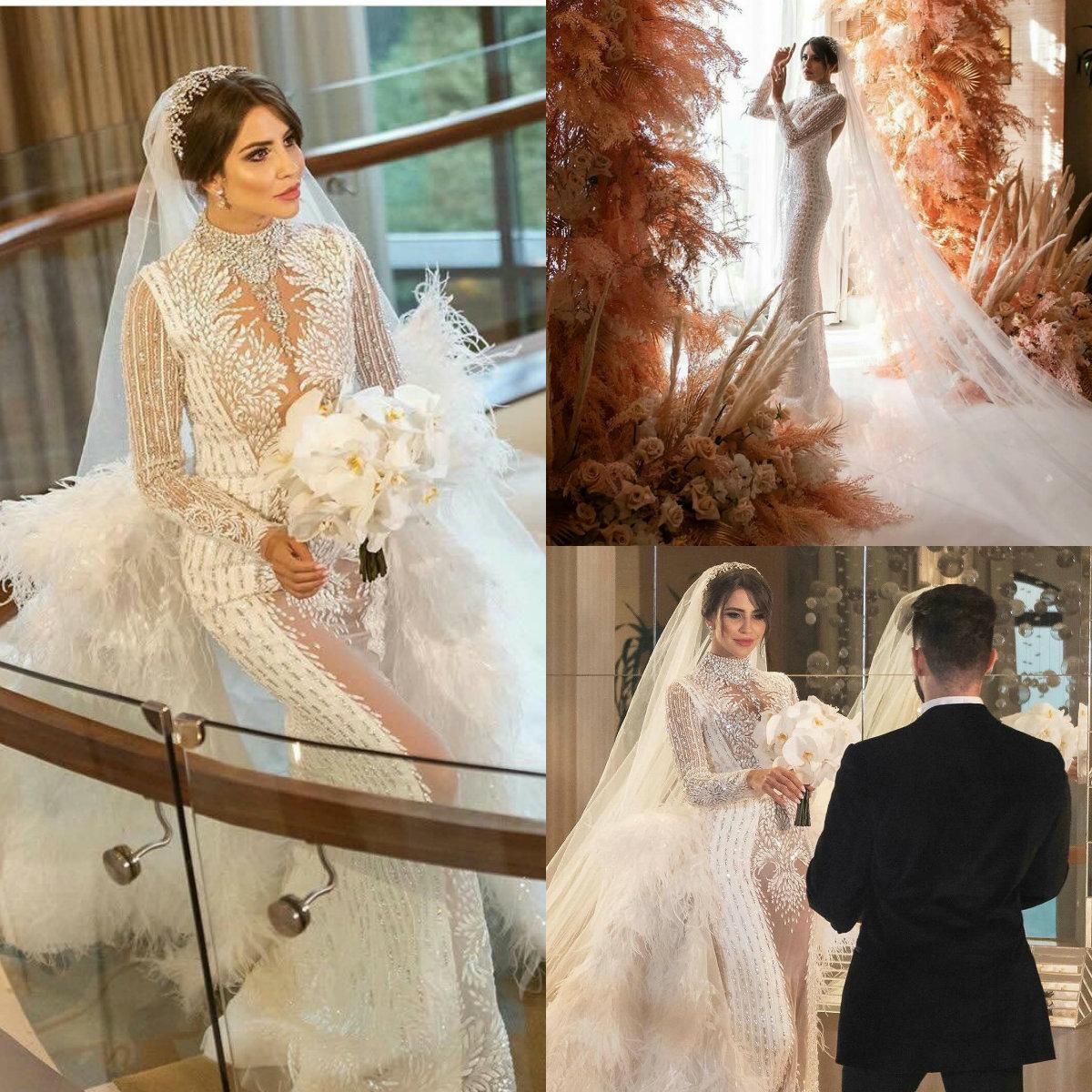 Feather Luxury Mermaid Wedding Dresses With Detachable Skirts Lace Crystal Long Sleeves Wedding Gowns High Neck Custom Made Robes De Mariee Knee Length Wedding Dress Mermaid Wedding Gown From Faiokaver 407 12 Dhgate Com