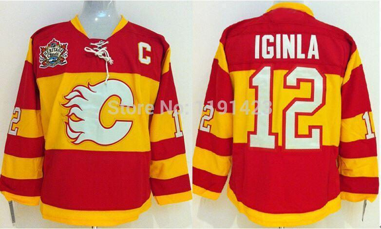 Barato Calgary chamas de hóquei jerseys # 12 jarro iginla jersey equipe cor home vermelho barato costurado camisas por china com venda de c remendo