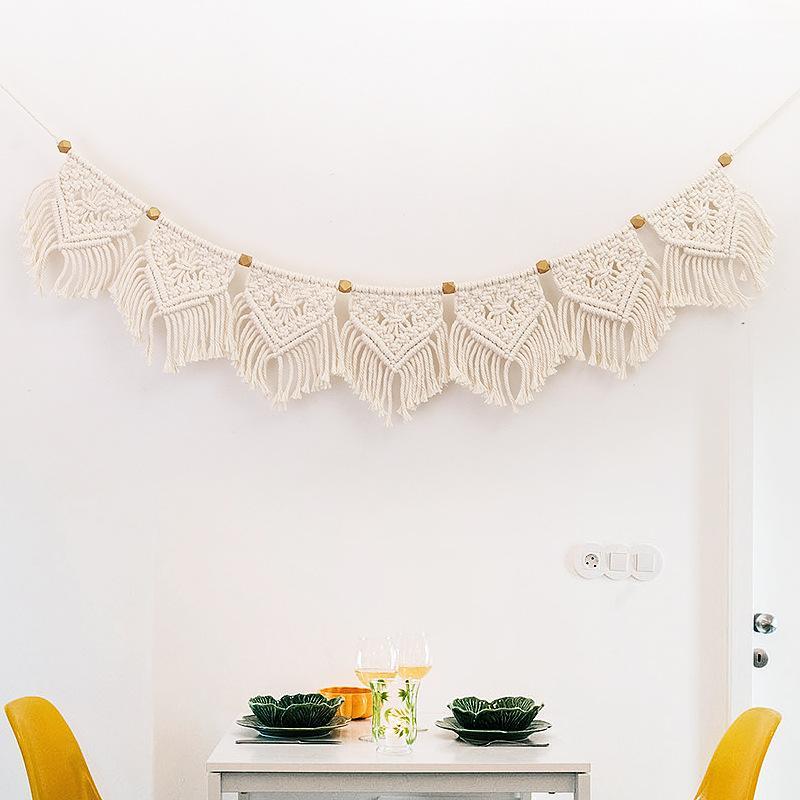 Macrame tejida con flecos Tapiz colgante de pared de la pared del hogar Decoración de Boho decoración de la sala dormitorio Cabecera colgantes