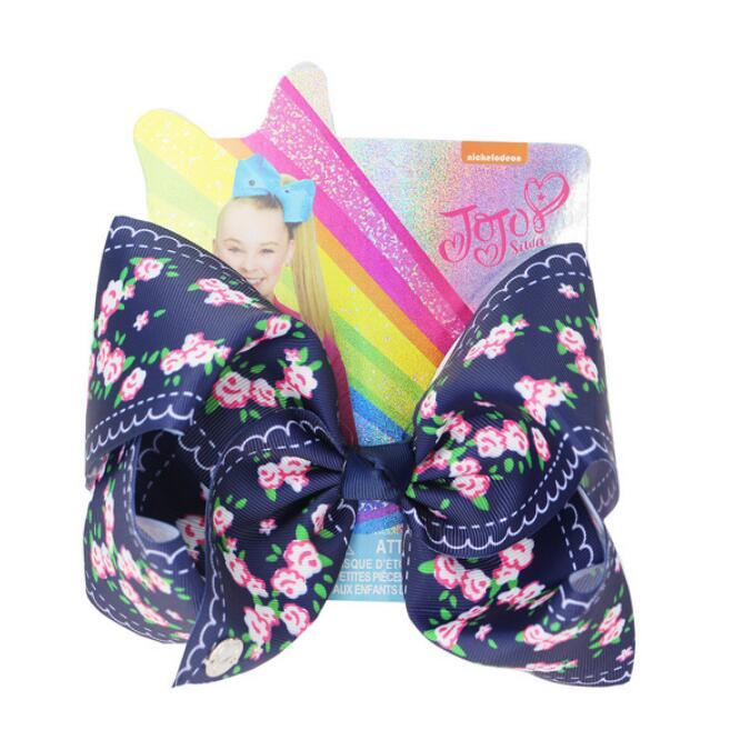 6pcs / lot trasporto PIEGA 8Inch fiori JOJO SWIA archi dei capelli rosa con clip per ragazze dei capretti di bowknot della clip di capelli di Hairgrips Headwear Accessori per capelli