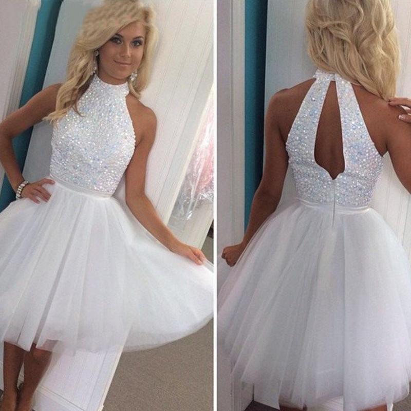 Mädchen New Weiß eine Linie Schulabschluss Heimkehr Abschlussball-Partei-Kleid Kundenspezifische Tulle-formalen Kleid hohen Ansatz Pailletten Kristall Ärmel