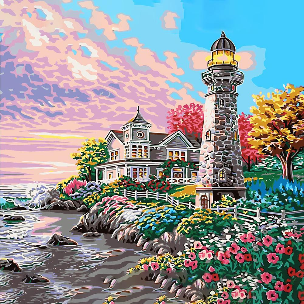 Mare Dream House fai da te pittura a olio dai corredi di disegno da colorare a mano di vernice cifra di paesaggio olio Immagini Per la casa della parete di arte