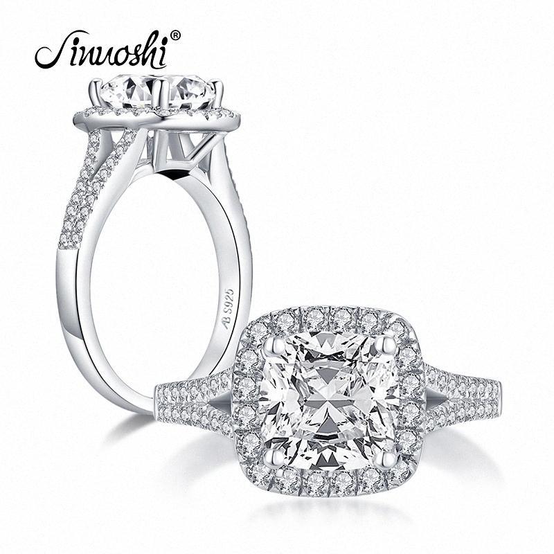 AINUOSHI Мода стерлингового серебра 925 2.0CT Подушка Cut Halo Кольца Имитация Алмазный Обручальные Кольца серебряные ювелирные изделия 7HEp #