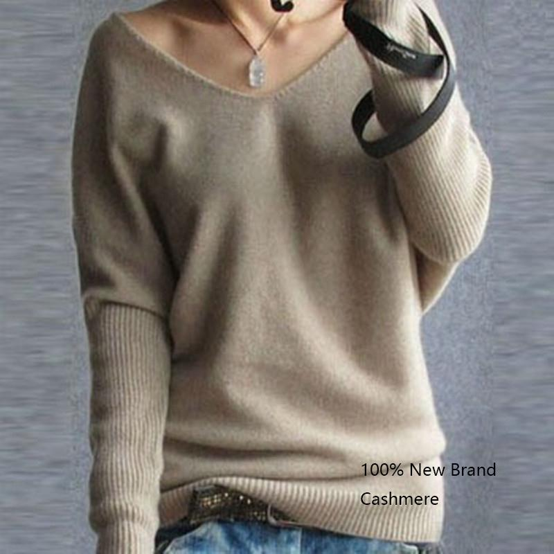 Automne pour femmes pullovers v cou Batwing manches longues Cachemire lâche occasionnel femme pull pull en tricot T200730 tops de base
