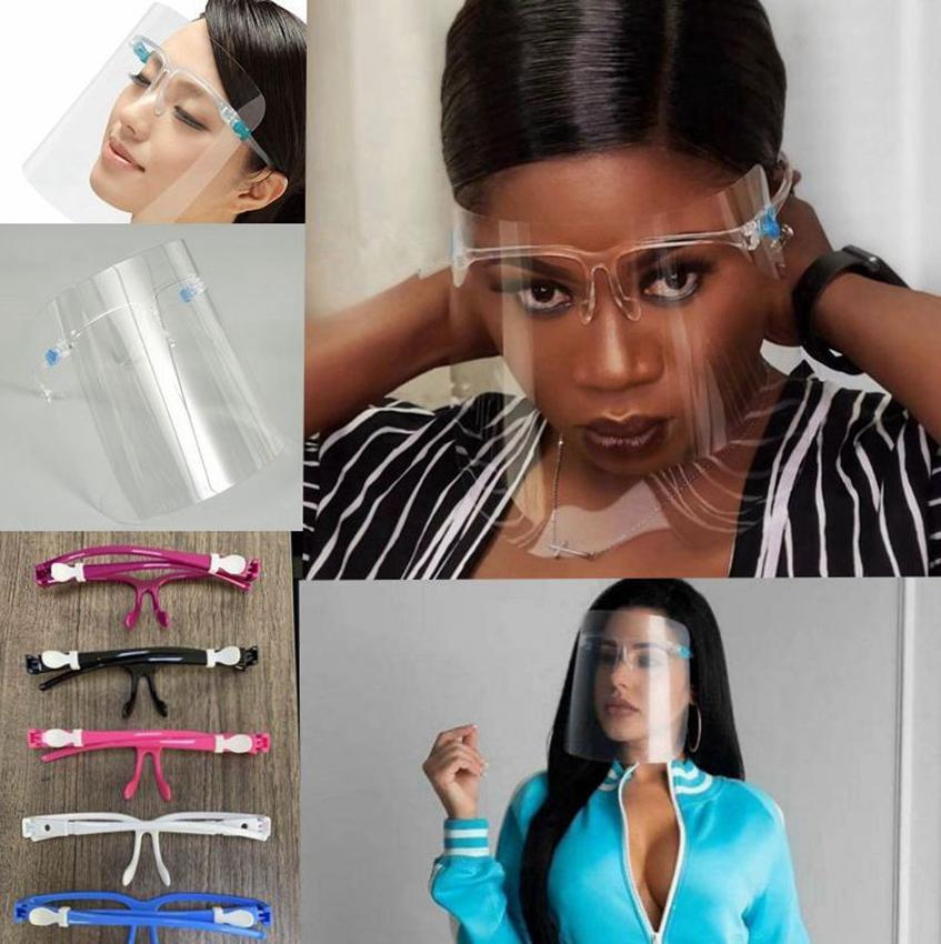 Yüz Kalkanı Gözlük Koruyucu Önleme Tam Yüz Shield Guard Koruyucu Yeniden kullanılabilir Yağ Yağmur geçirmez Yüz Cam tasarım Maskeleri LJJK2443