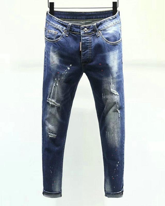 Neue Art und Weise Männer schwarze Jeans Skinny Stretch dünne zerrissene Westen Hip-Hop Swag denim Motorrad Bikerhosen Jogger ~~ XGH366