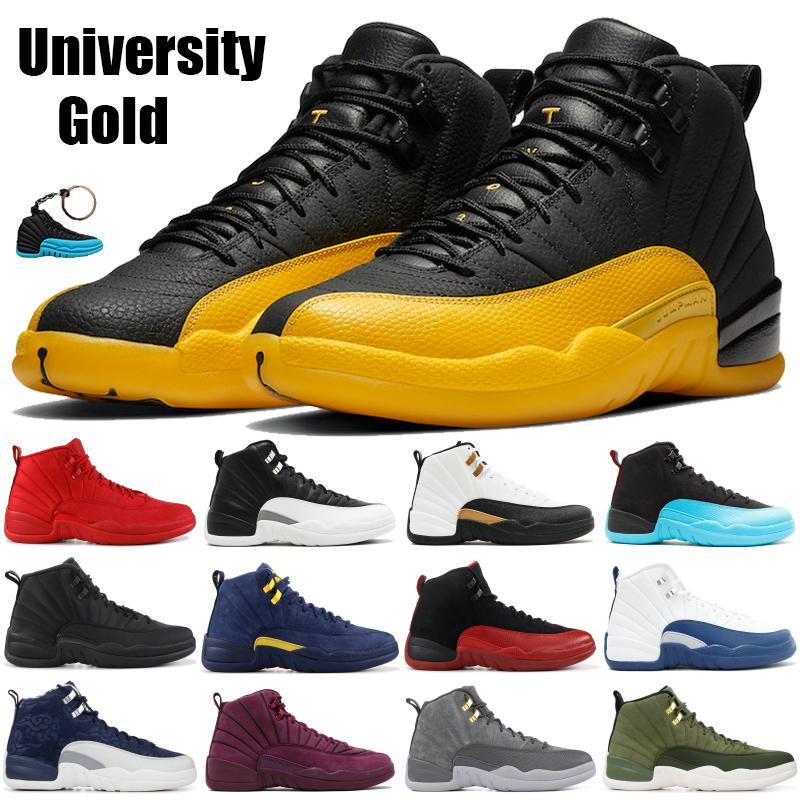 أحذية جامعة Jumpman الذهب الأسود 12 لكرة السلة رمادية بيضاء الظلام 12S عكس الإنفلونزا لعبة قزحي الألوان العاكسة الشروق الرجال أحذية رياضية المدربين