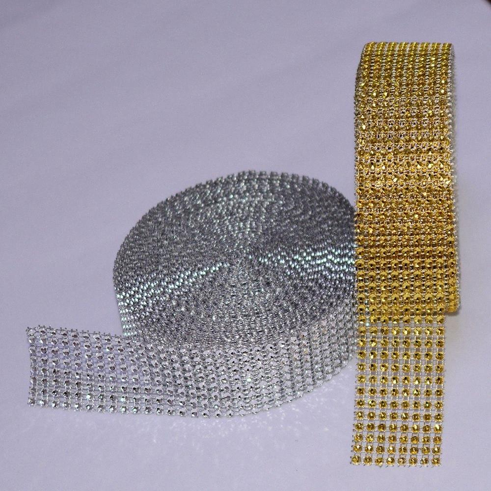 5 Yard 8 row Gold Silver Diamond Mesh Wrap Roll Sparkle Rhinestone Crystal Cake Ribbon Wedding Party Decoration Clothes Trimming dpKg#