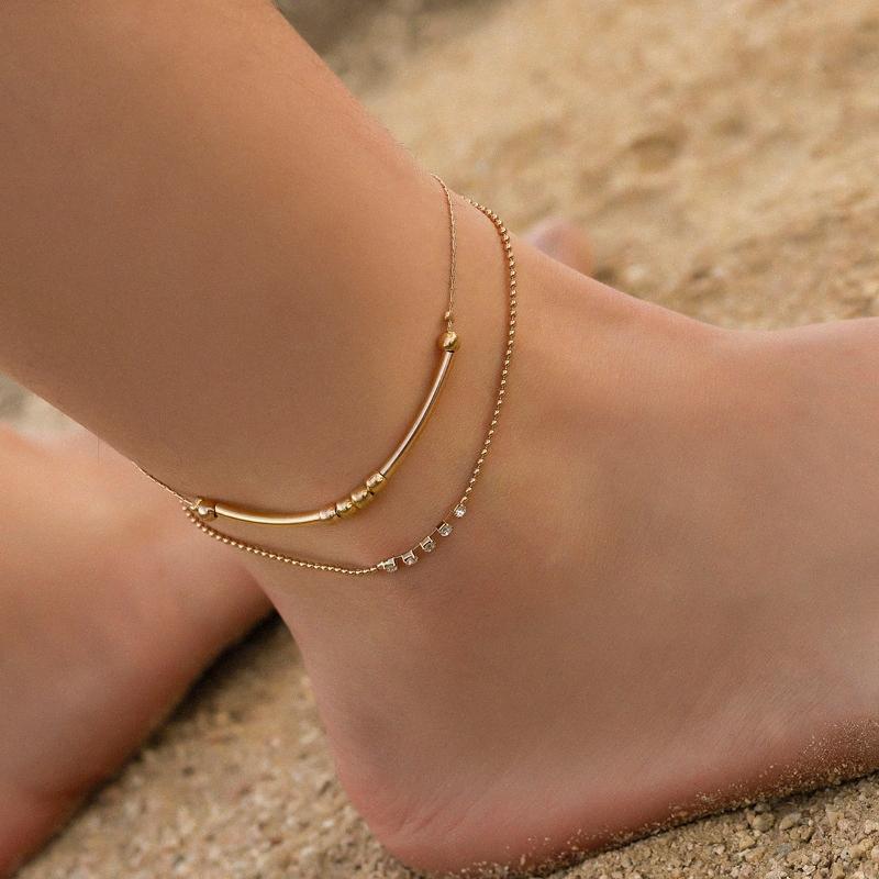 R-Luminoso creativo de doble capa de la muchacha de los granos del cristal pequeño de playa de Boho Accesorios para el tobillo para las mujeres 4aUa #