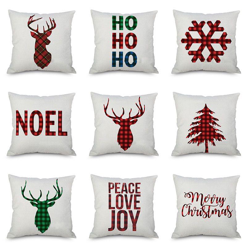 Federa Natale cuscini Xmas Tree Fiocchi di neve Renna Elk Plaid Art Cuscino Divano Car Decor Lino federa WX9-1061