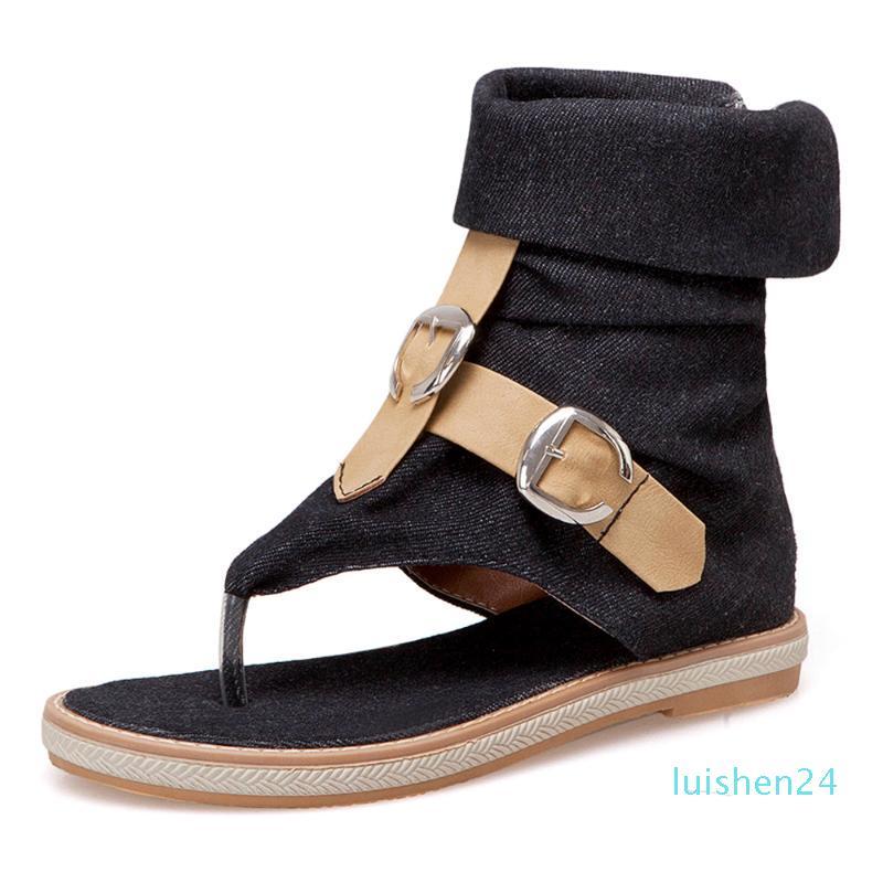 Kadınların Platformu Sandalet yazlık ayakkabı kadın Gladyatör Sandalias mujer 2019 l24 için CDPUNDARI Bayanlar Denim düz sandalet