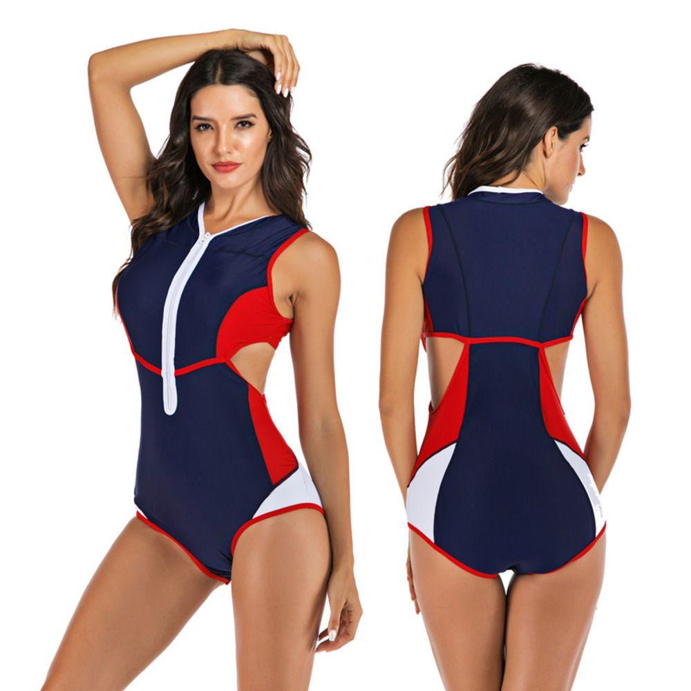 Professional Swimwear One Piece Women Zipper Monokini Swimsuit Sport Bodysuit Bathing Suit Ladies Swim Plus Size S-2XL MX200613