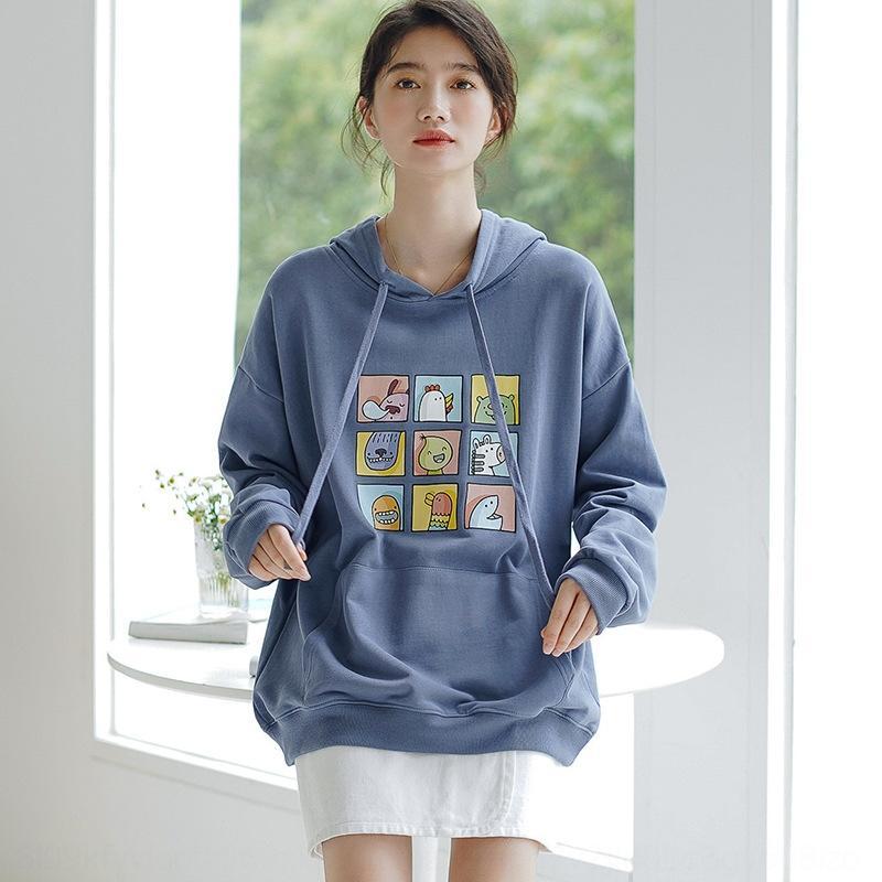 8jXVi 3fqMM 2020 Spring печататься ленивым bfstyle пальто й корейски толстовки шнурка женщин теряют все-матчевых пальто свитера балахон свитера cartoo
