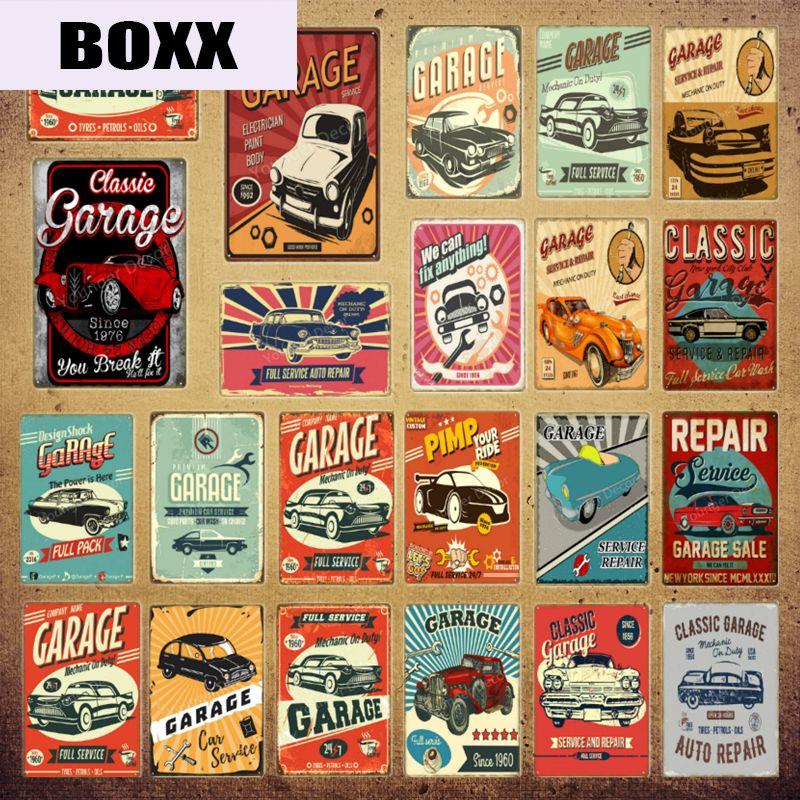 Klasik Garaj Servis Metal Poster Metal Tabelalar Araç Otobüs Tamir 24 Saat Açık Vintage Plak Pub Bar Club Duvar Dekorasyon YI-193