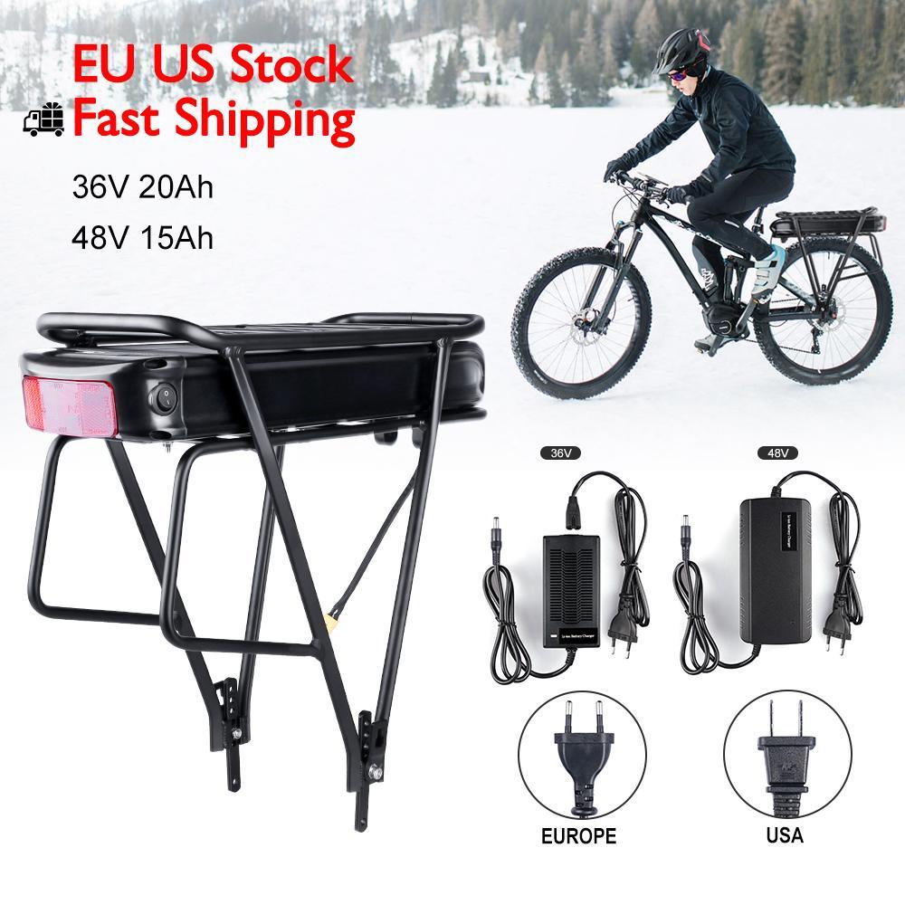 UE US Entrepôt Aucune taxe 36V 48V arrière Batterie au lithium avec chargeur pour Mid Motor 250W 500W 750W Bafang Mid électriques Kits de vélos