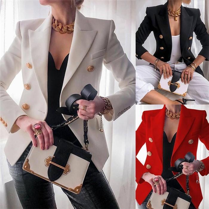 Frauen OL Art-beiläufige Blazer Revers-Ansatz-Knopf zweireihige Fest Farbe Blazer Frauen dünne hohe Art und Weise Kurz-Klagen
