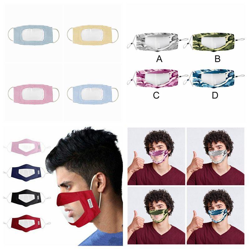 Taubstumme Transparent Gesichtsmaske Tarnung Waschbar wiederverwendbare Masken Antistaub Antifog Earloop Klar Designer Mask 12styles RRA3298