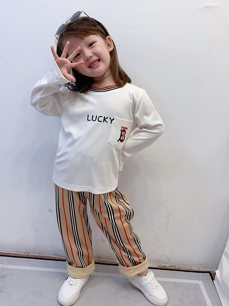 Progettista delle ragazze Outfits Autunno 2020 nuovi bambini vestiti dei vestiti dei bambini lettera stampata a maniche lunghe T-shirt + banda pantaloni 2pcs insiemi S386