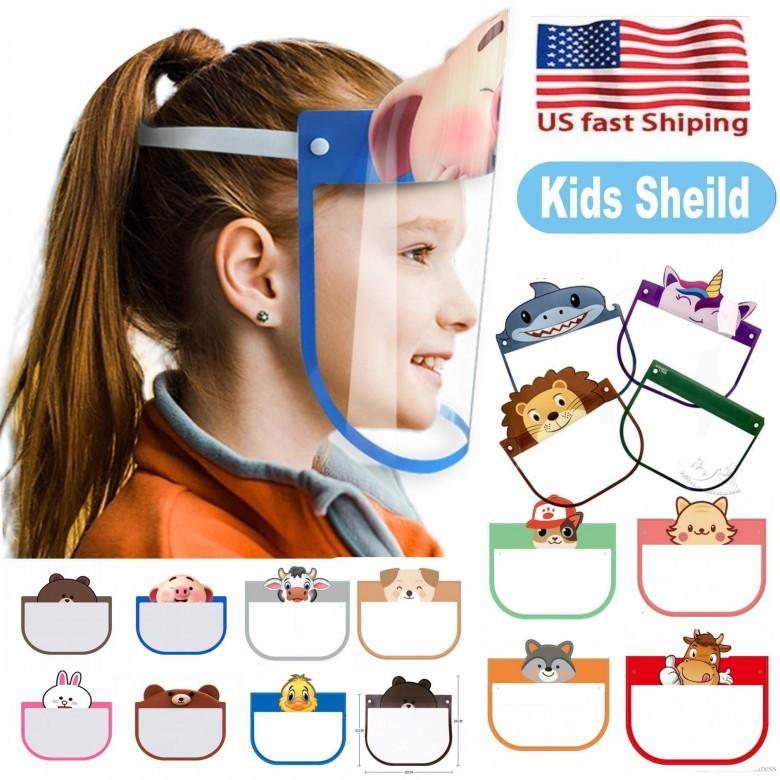 Belle 10 PC Kid Cartoon Visage Bouclier Masques de protection transparent Anti-poussière anti-buée facial Bouclier anti-poussière coupe-vent PET Masque FY8037