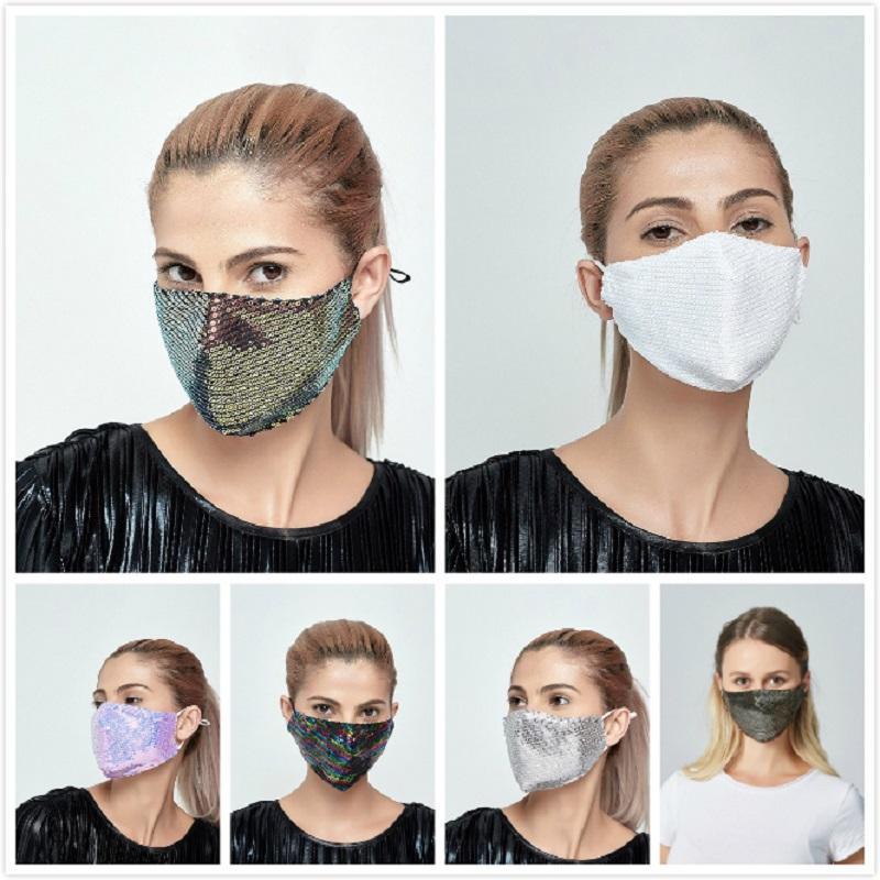 DHL bling bling Sequin masque facial extérieur crème solaire anti-poussière lavable respirante Masque bouche réutilisable protection du visage Couverture 21,2 * 13.5cm