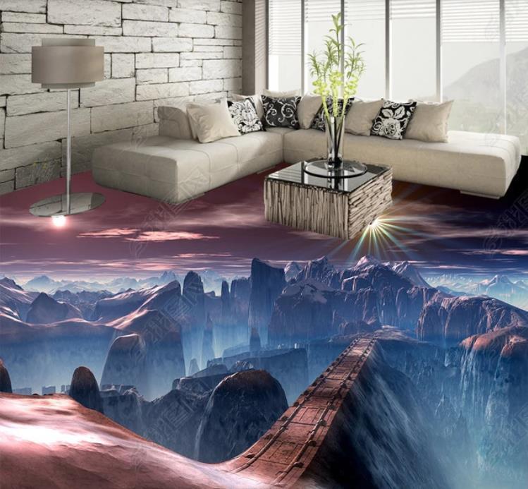 مخصصة لعبة جميلة جسر المشهد الأرضي الطابق جدران غرفة 3D غرفة المعيشة للماء مطبخ الفينيل الجداريات ورق الجدران
